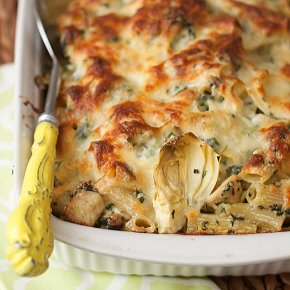 Chicken Spinach, and Artichoke Pasta Bake