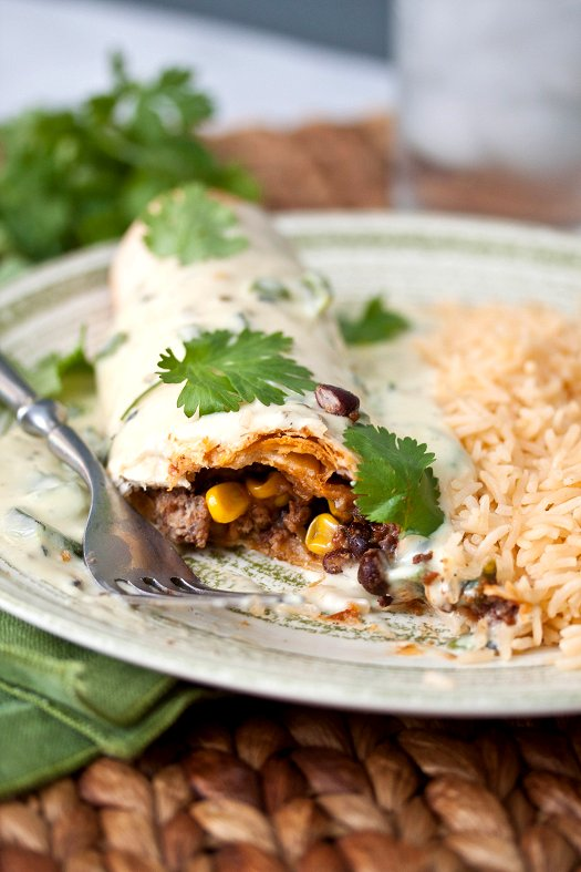 Beef Burritos with Poblano Queso