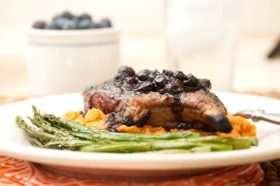 Grilled Pork Chops w/ Blueberry-Chipotle Sauce