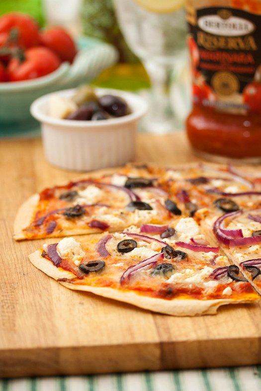 mediterranean tortilla pizzas